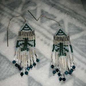 Hand Beaded Thunderbird Earrings